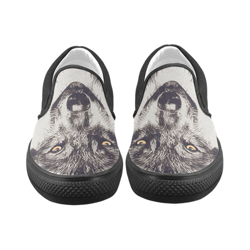GREY WOLF Slip-on Canvas Shoes for Kid (Model 019)