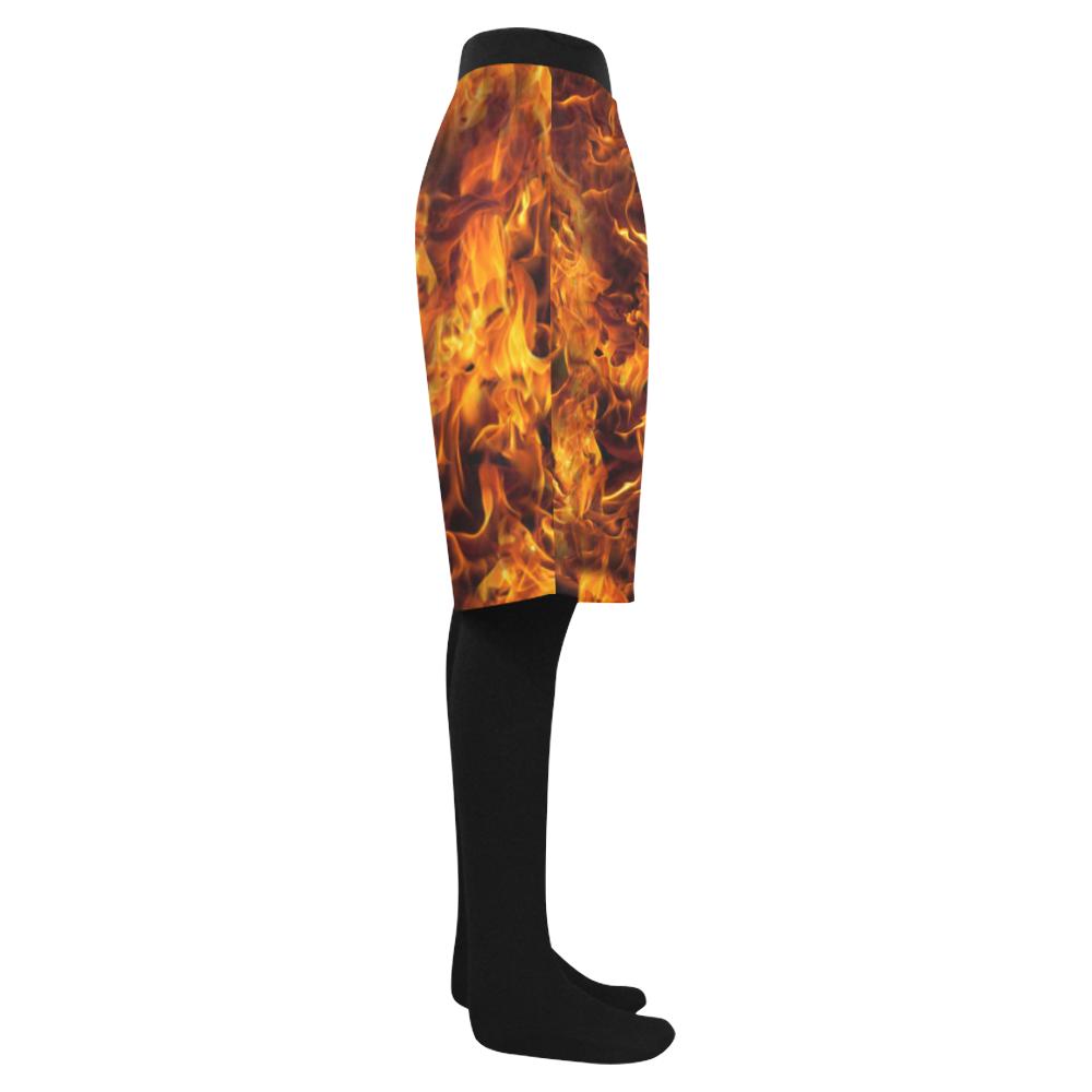 Flaming Fire Pattern Men's Swim Trunk (Model L21)