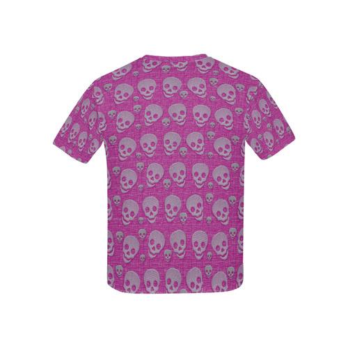 SKULLS PINK Kids' All Over Print T-shirt (USA Size) (Model T40)