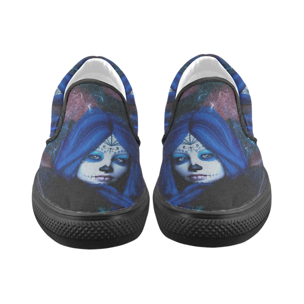 Sugar Skull Girl Slip-on Canvas Shoes for Kid (Model 019)