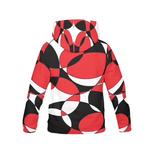 Black, White and Red Ellipticals All Over Print Hoodie for Women (USA Size) (Model H13)