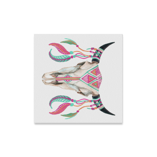 """Turquoise/Pink Feather Skull Canvas Canvas Print 16""""x16"""""""
