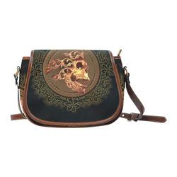 Amazing skull with floral elements Saddle Bag/Small (Model 1649) Full Customization