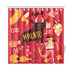 "Funny Madrid Travel Bull Bullfighter Guitar Shower Curtain 72""x72"""