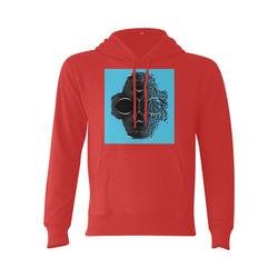 fractal black skull portrait with blue abstract background Gildan Hoodie Sweatshirt (Model H03)