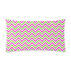 "Pink Green White Chevron Custom Rectangle Pillow Case 20""x36"" (one side)"