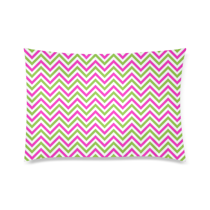 "Pink Green White Chevron Custom Zippered Pillow Case 20""x30"" (one side)"