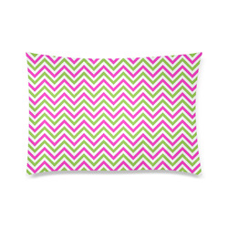 "Pink Green White Chevron Custom Zippered Pillow Case 20""x30"" (one side)"