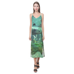 Awesome submarine with orca V-Neck Open Fork Long Dress(Model D18)