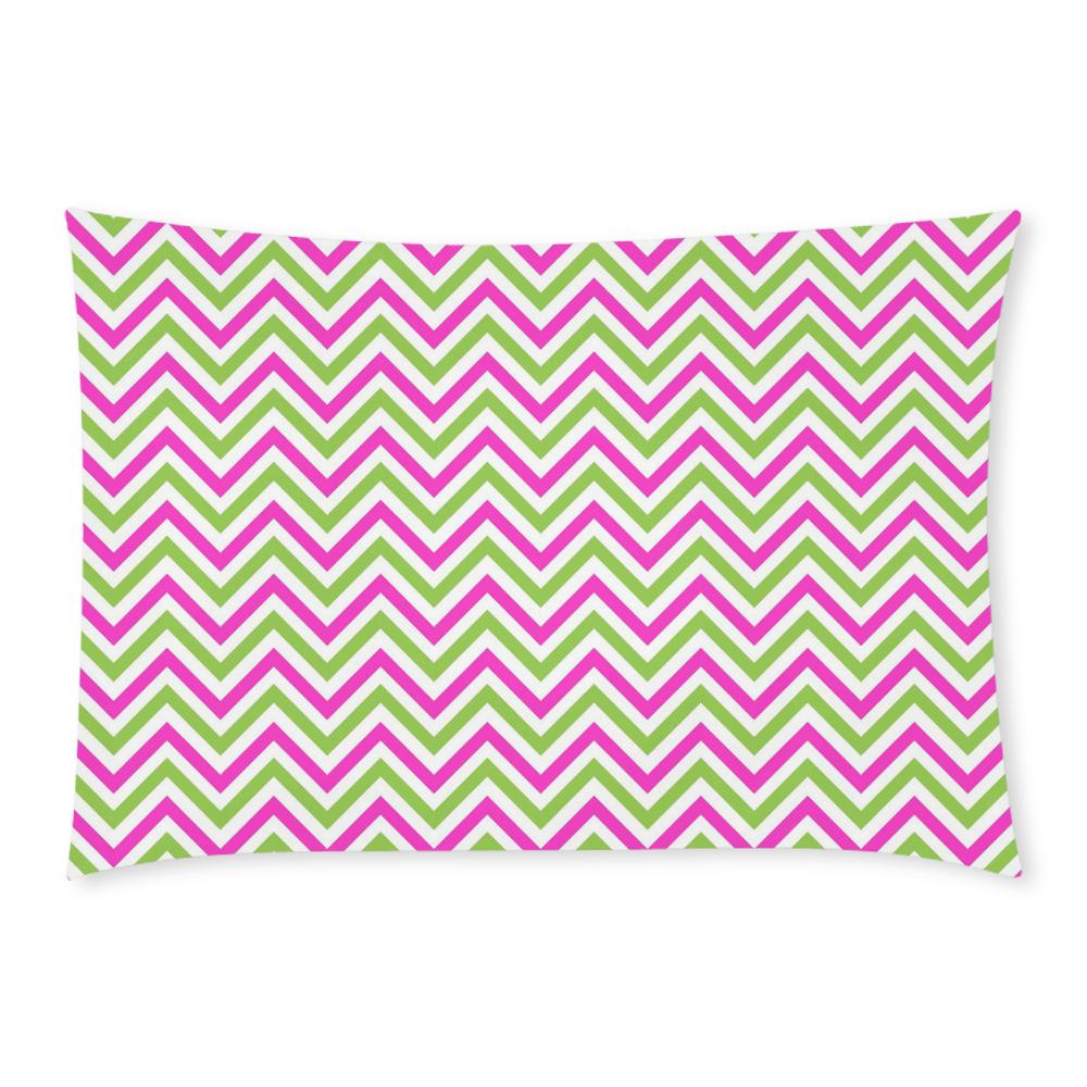 Pink Green White Chevron Custom Rectangle Pillow Case 20x30 (One Side)