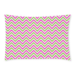 Pink Green White Chevron Custom Rectangle Pillow Case 20x30 (One Side)
