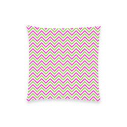 "Pink Green White Chevron Custom  Pillow Case 18""x18"" (one side) No Zipper"