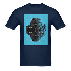 fractal black skull portrait with blue abstract background Men's T-Shirt in USA Size (Two Sides Printing)