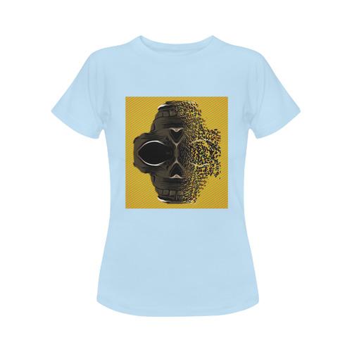fractal black skull portrait with orange abstract background Women's Classic T-Shirt (Model T17)