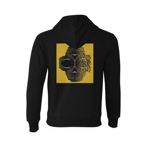 fractal black skull portrait with orange abstract background Gildan Hoodie Sweatshirt (Model H03)