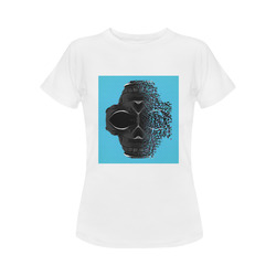 fractal black skull portrait with blue abstract background Women's Classic T-Shirt (Model T17)
