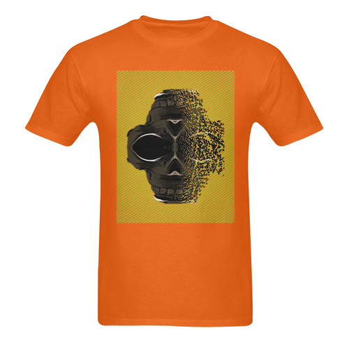 fractal black skull portrait with orange abstract background Men's T-Shirt in USA Size (Two Sides Printing)