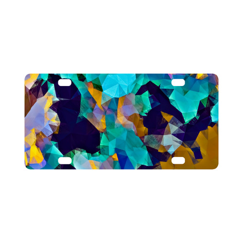 psychedelic geometric polygon abstract pattern in green blue brown yellow Classic License Plate