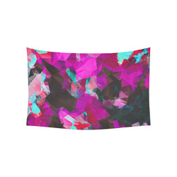 """psychedelic geometric polygon abstract pattern in purple pink blue Cotton Linen Wall Tapestry 60""""x 40"""""""