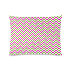 "Pink Green White Chevron Custom Picture Pillow Case 20""x26"" (one side)"