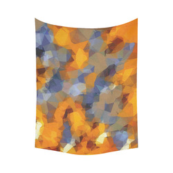 """psychedelic geometric polygon abstract pattern in orange brown blue Cotton Linen Wall Tapestry 60""""x 80"""""""