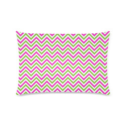 "Pink Green White Chevron Custom Rectangle Pillow Case 16""x24"" (one side)"