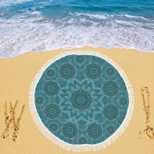 "Wood and stars in the blue pop art Circular Beach Shawl 59""x 59"""