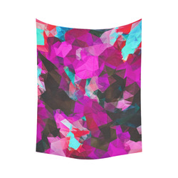 """psychedelic geometric polygon abstract pattern in purple pink blue Cotton Linen Wall Tapestry 60""""x 80"""""""