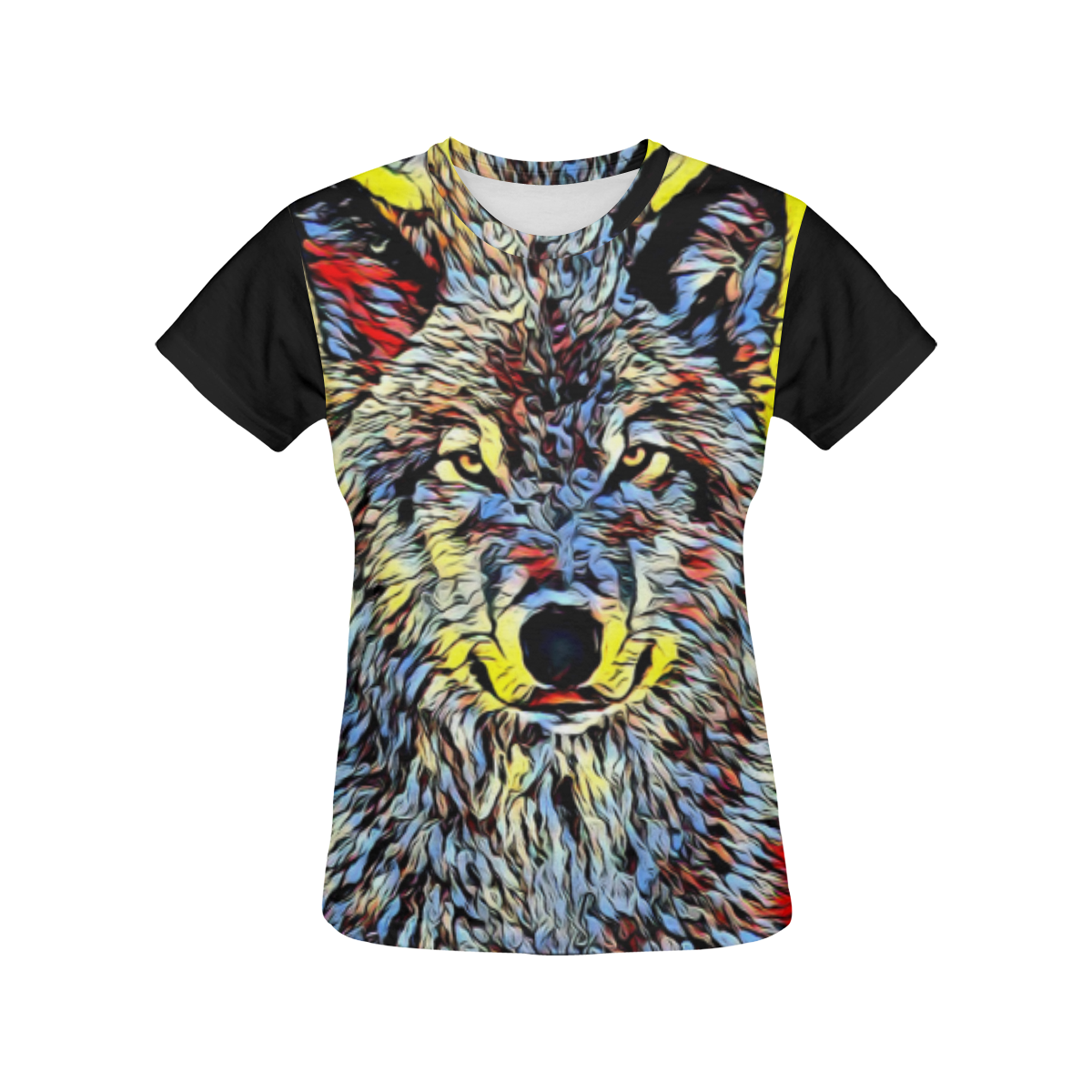 WOLF MULTICOLOR All Over Print T-Shirt for Women (USA Size) (Model T40)