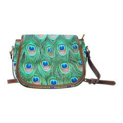 Peacock Feathers Watercolor Saddle Bag/Small (Model 1649) Full Customization