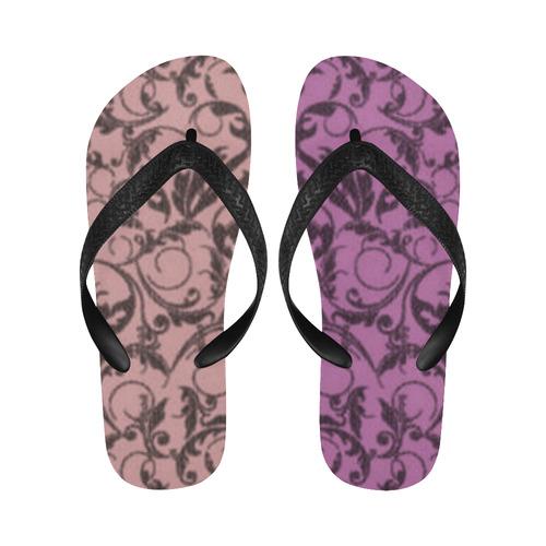 Bodacious Bridal Rose Swirls New Flip Flops for Men/Women (Model 040) (Both Customized)