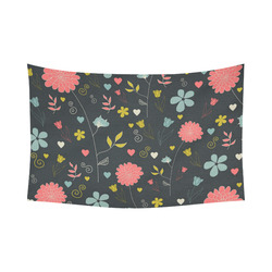 """Flowers Cotton Linen Wall Tapestry 90""""x 60"""""""