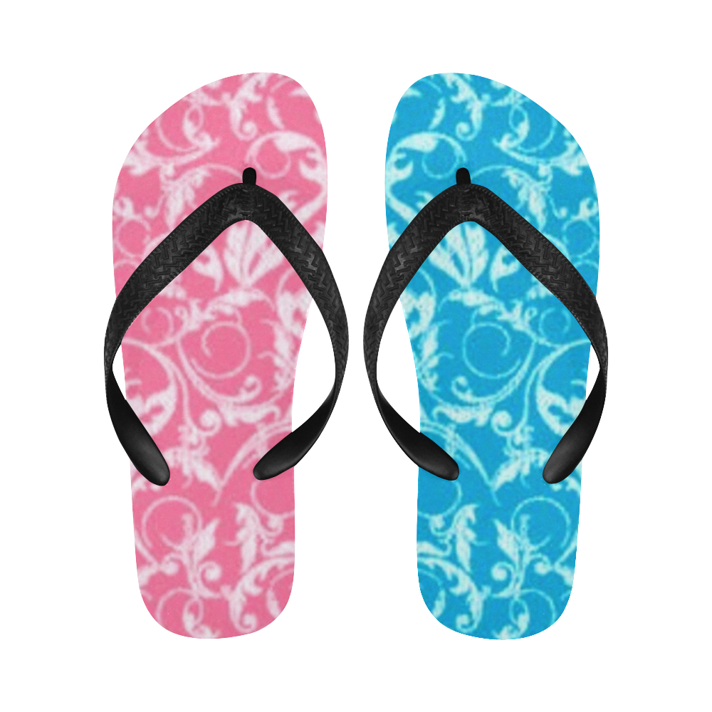 Pink and Blue Swirls New Flip Flops for Men/Women (Model 040) (Both Customized)