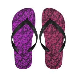 Pink Yarrow Dazzling Violet Leaf New Flip Flops for Men/Women (Model 040) (Both Customized)