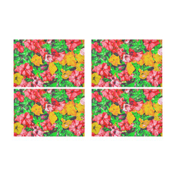 closeup flower abstract background in pink red yellow with green leaves Placemat 12'' x 18'' (Four Pieces)