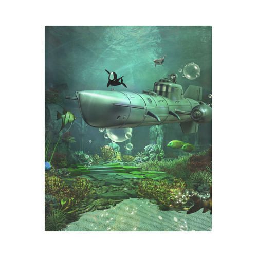 "Awesome submarine with orca Duvet Cover 86""x70"" ( All-over-print)"