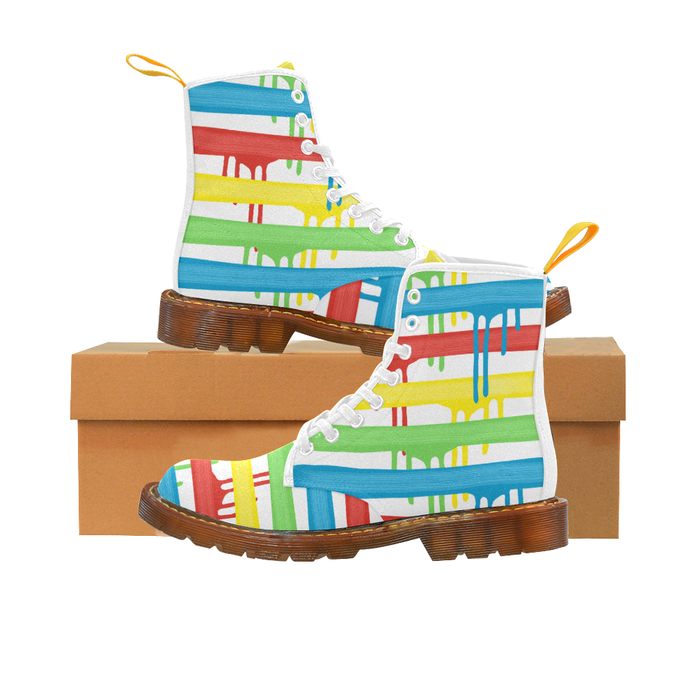 Colorful Rainbow Strokes of the Brush Martin Boots For Men Model 1203H