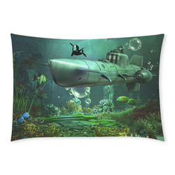 Awesome submarine with orca Custom Rectangle Pillow Case 20x30 (One Side)