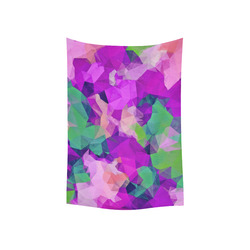"""psychedelic geometric polygon pattern abstract in pink purple green Cotton Linen Wall Tapestry 40""""x 60"""""""