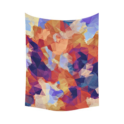 """psychedelic geometric polygon pattern abstract in orange brown blue purple Cotton Linen Wall Tapestry 60""""x 80"""""""