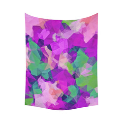 """psychedelic geometric polygon pattern abstract in pink purple green Cotton Linen Wall Tapestry 60""""x 80"""""""