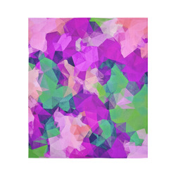 """psychedelic geometric polygon pattern abstract in pink purple green Cotton Linen Wall Tapestry 51""""x 60"""""""