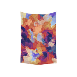 """psychedelic geometric polygon pattern abstract in orange brown blue purple Cotton Linen Wall Tapestry 40""""x 60"""""""