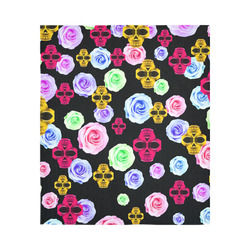 """skull portrait in pink and yellow with colorful rose and black background Cotton Linen Wall Tapestry 51""""x 60"""""""