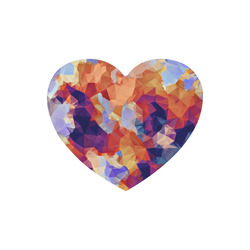 psychedelic geometric polygon pattern abstract in orange brown blue purple Heart-shaped Mousepad