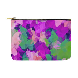 psychedelic geometric polygon pattern abstract in pink purple green Carry-All Pouch 12.5''x8.5''