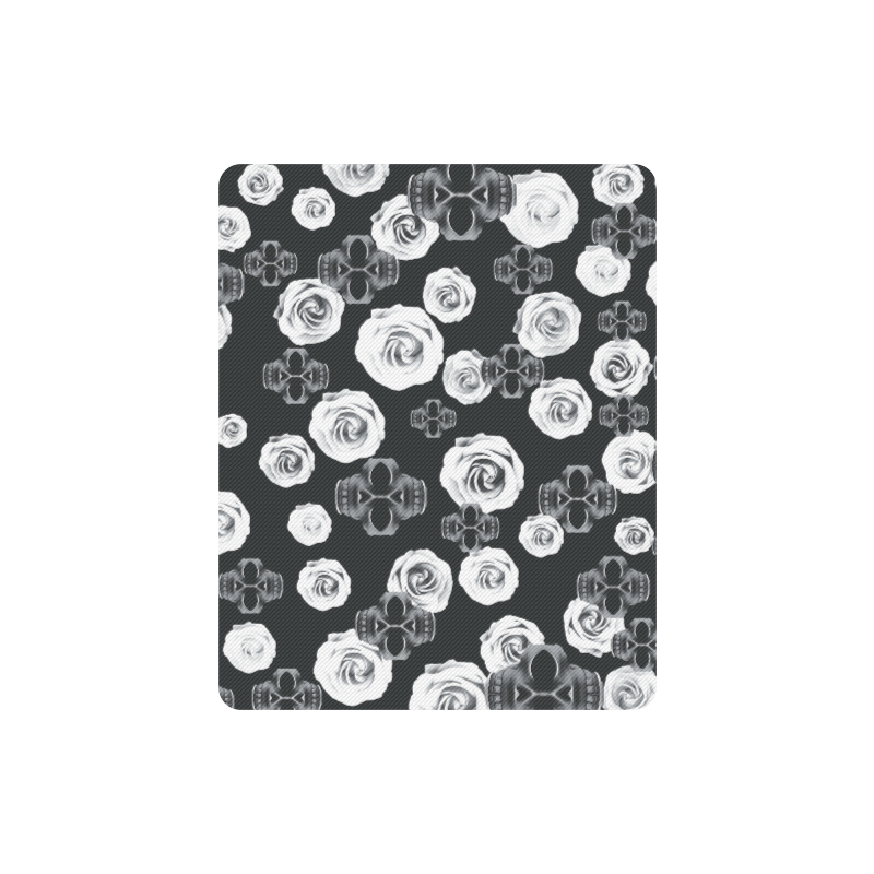 vintage skull and rose abstract pattern in black and white Rectangle Mousepad