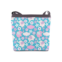 Cute Baby Pink Elephant Floral Crossbody Bags (Model 1613)