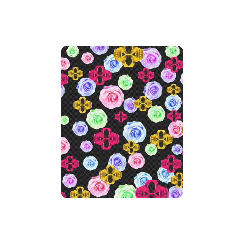 skull portrait in pink and yellow with colorful rose and black background Rectangle Mousepad