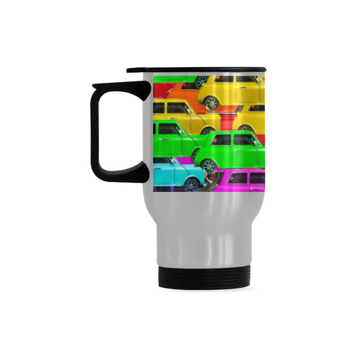vintage car toy background in yellow blue pink green orange Travel Mug (Silver) (14 Oz)